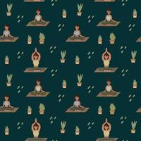 Yoga pattern background. Girls do Pilates, meditation with greenery. A pattern for textiles with people in different poses vector