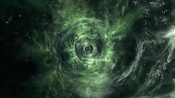 loopflyg in i mörkgrön hyperspace maskhålstunnel video