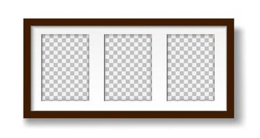 Frame for three photos with passepartout on the wall mockup vector