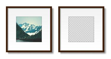Two frames with passepartout on the wall mockup vector