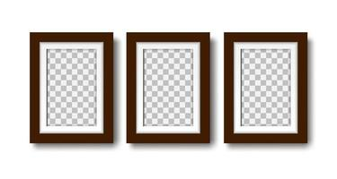Three photo frames with passepartout on the wall mockup vector