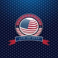 Ribbon style 4th of july graphic vector