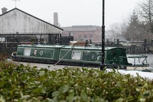 Snowing on the Canal Barge photo