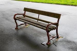 wooden park bench photo