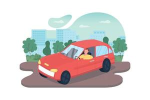 Driving car 2D vector web banner