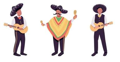 Mexican musicians flat color vector faceless character set