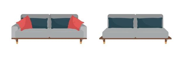 Grey sofa with black and red pillows flat color vector object set
