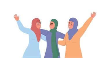 Happy arabic women in hijabs flat color vector faceless characters