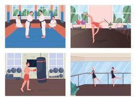 Gym training flat color vector illustration set