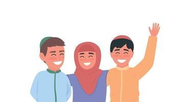 Happy arabian children flat color vector faceless characters