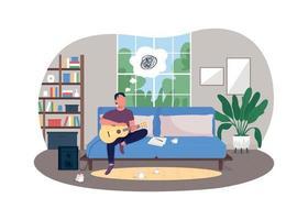 Musician burnout 2D vector web banner