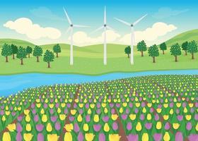 Tulips field flat color vector illustration