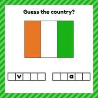 Worksheet on geography for preschool and school kids Crossword Ivory coast flag Guess the country vector