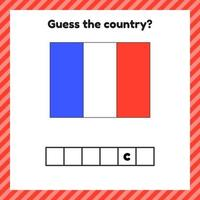 Worksheet on geography for preschool and school kids Crossword France flag Guess the country vector