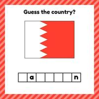 Worksheet on geography for preschool and school kids Crossword Bahrain flag Guess the country vector
