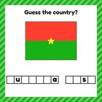 Worksheet on geography for preschool and school kids Crossword Burkina Faso flag Guess the country vector