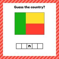 Worksheet on geography for preschool and school kids Crossword Benin flag Guess the country vector