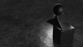 Stone black geometric shapes 3d render illustration photo