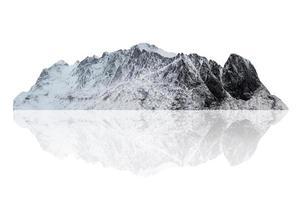 Snowy mountain range  on winter in Scandinavia at Lofoten island photo