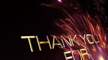 gracias por ver los fuegos artificiales brillantes de los destellos dorados video
