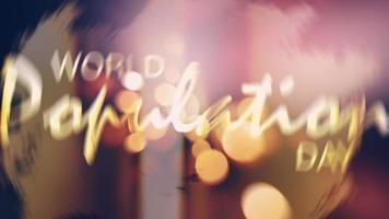 World Population Day Golden text bokeh flare light video