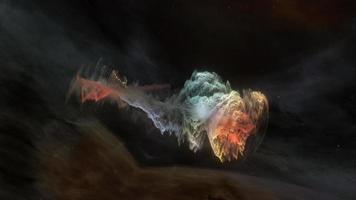 Exploration de l'espace abstrait brillant nuage de nébuleuse non identifié coloré video