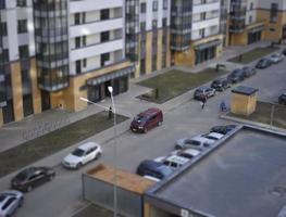 Top view of the  residential area with parking for cars time lapse video