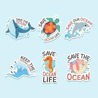 Set of World Ocean Day Sticker vector