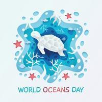 concepto de tortuga cortada en papel del día mundial del océano vector