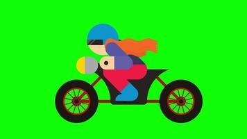 Animated bike rider on green screen background video