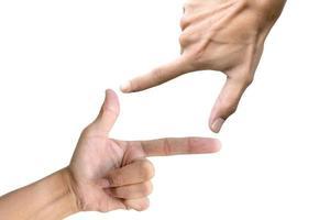 símbolo de la mano sobre fondo blanco foto