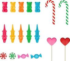 set of colorful candies vector