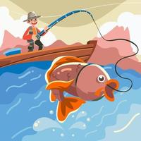 huelga de pesca en el campamento de verano vector