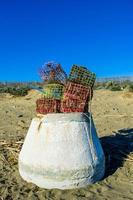 colorful baskets on the beach photo