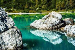 Rocks in a lake photo