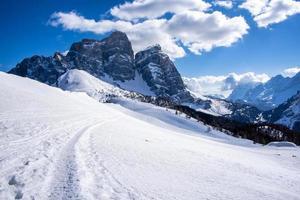 Snowy mountain landscape photo