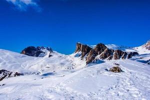 Snow on mountains photo