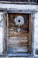 Wooden door with decoration photo
