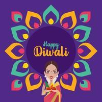 Beautiful Indian woman hands holding diya oil lamp for celebrating diwali with colourful Indian Rangoli design vector