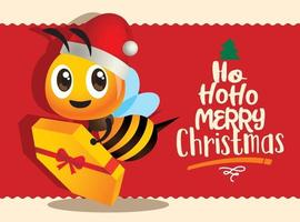 Cartoon cute bee delivery gift for celebration of Merry Christmas with greeting lettering vector