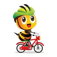 Cartoon cute happy bee cycling on red bicycle with green safety helmet vector mascot