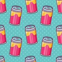 soft drink can seamless pattern illustration in flat style vector