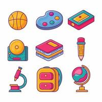 collection of school stationery illustration in flat style vector