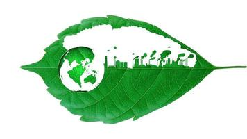 Industrial factory cutout leaf with Toxic smoke destroying the environment concept video