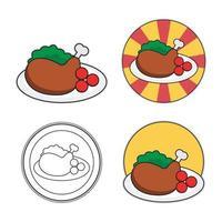 Grilled chicken food illustration vector