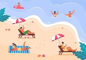 feliz verano en la ilustración de la playa vector