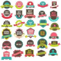 Collection of labels and ribbons vector