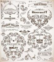 Set of calligraphic design elements. Page decoration, Premium Quality and Satisfaction Guarantee Label, antique and baroque frames vector