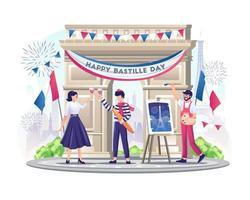 Feliz pareja francesa y pintor celebran el día de la bastilla el 14 de julio ilustración vector