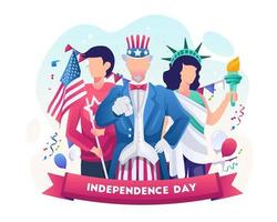 Uncle sam and woman with liberty outfit celebrate national independence day 4th July illustration vector